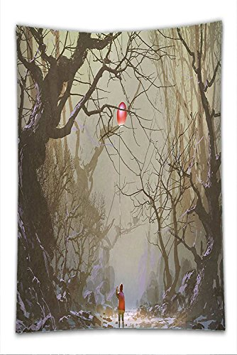 Nalahome Fleece Throw Blanket Fantasy Art House Decor Boy Looking Up Red Balloon Stuck on Tree Branch in Foggy Forest Picture Brown (Cat Tree Christmas In Stuck)