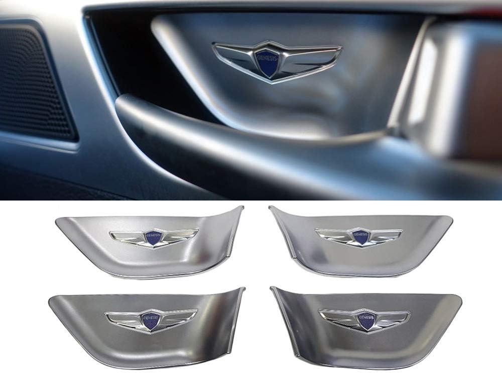 Stainless Steel Door Lock Striker Cover Emblem Laser Marking Trim for Hyundai Genesis G80 Blue