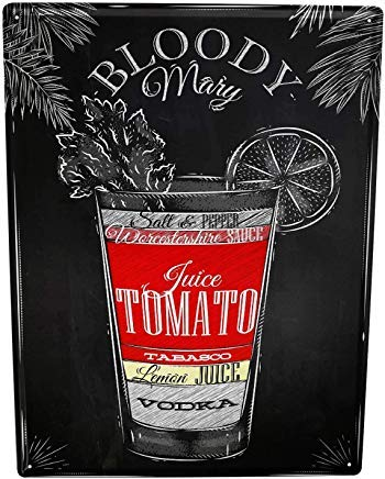 JIASIGN Tin Sign 8X12 Metal Plate Plaque Bar Party Bloody Mary Recipe ()