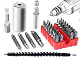 1 62 drill bit - Poonning Universal Socket 7MM-19MM,Damaged Screw Remover Set,Extention Screwdriver Drill Bit Holder with Magnetic Quick Connect Drive Shaft Tip All for Drill Bit