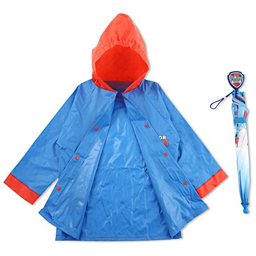 Nickelodeon Little Boys Paw Patrol Character Slicker and Umbrella Rainwear Set Age 2 7
