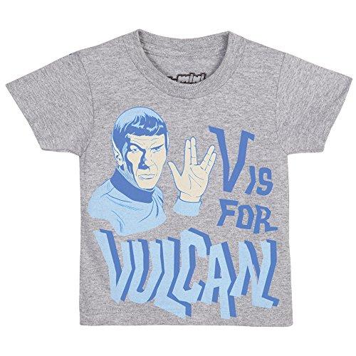 Juvy Heather T-shirt - Star Trek V is for Vulcan Juvy T-Shirt - Heather Grey (4T)