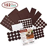 30 Inch Vanity Seddox PREMIUM Felt Furniture Pads Set - 152 pieces Including Bonus Rubber Bumper Pads - Self Stick Extra Adhesive Hardwood Floor Protectors, Felt Pads for Furniture Feet Brown