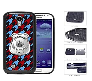 Proud Police Officer's Wife Houndstooth 2-Piece Dual Layer High Impact Rubber Silicone Cell Phone Case Samsung Galaxy S4 SIV I9500