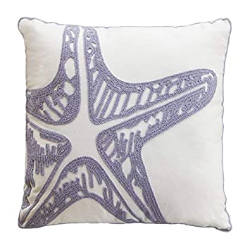 North End Decor Lavender Embroidered Starfish Decorative 18×18 Insert Included Throw Pillows, Stuffed, Purple