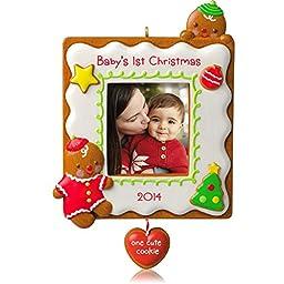 Hallmark 2014 Baby\'s 1st Christmas One Cute Cookie Photo Holder Ornament