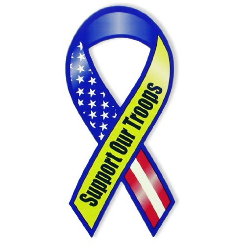 "Support Our Troops 8"" Magnet, Red/White/Blue (American Flag Design)"