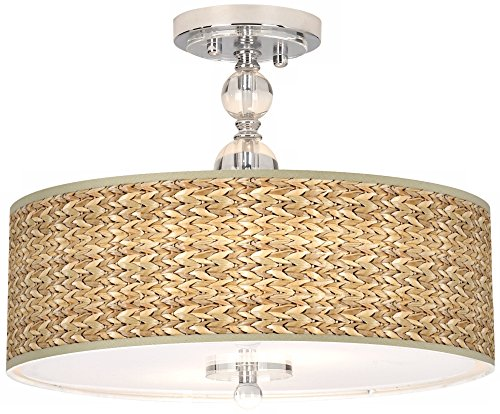 Pendant Lighting With Seagrass Shades in US - 6