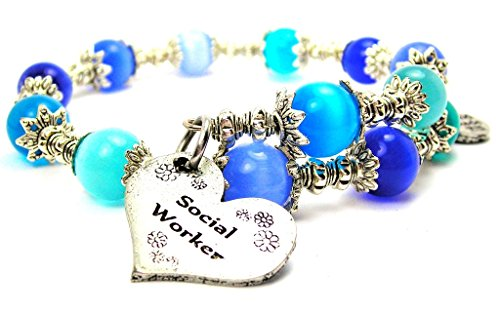 Cat Eye Cat Charm Bracelet - Social Worker Cat's Eye Wrap Charm Bracelet in Sapphire Blue and Aqua Blue