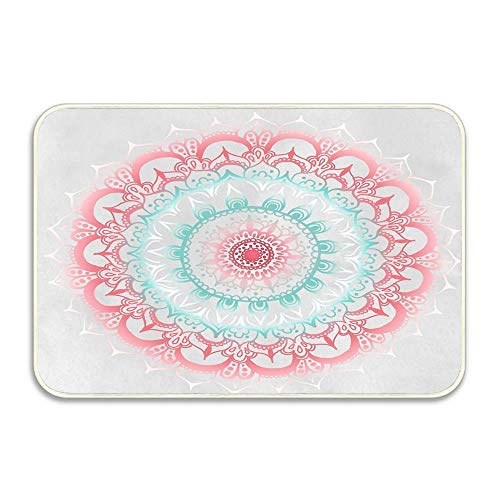 2' Medallion Insert - Huayuanhurug Teal & Coral Glow Medallion Door Mat,Decorative Floor Mat with Non-Skid Backing,Fit for Home Indoor Kitchen(16 x 24 Inch)