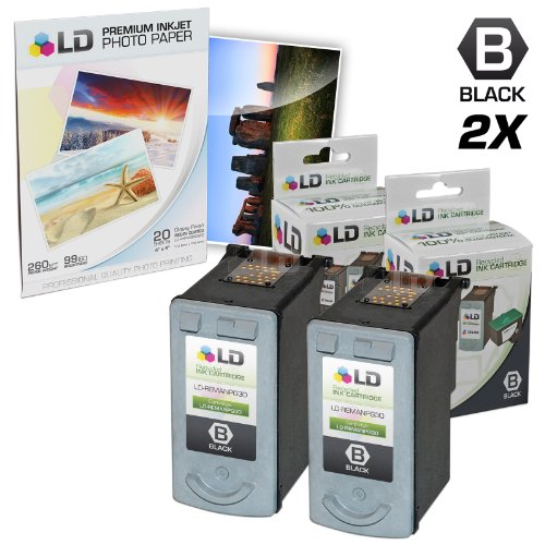 LD Remanufactured Canon PG30 Set of 2 Black Inkjet Cartridges & Free 20 Pack of LD Brand 4x6 Photo (Canon Ip1800 Photo Printer)