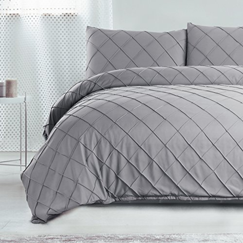 Bedsure Diamond Pattern Duvet Cover Set King Size Grey Microfiber Bedding Sets Collections