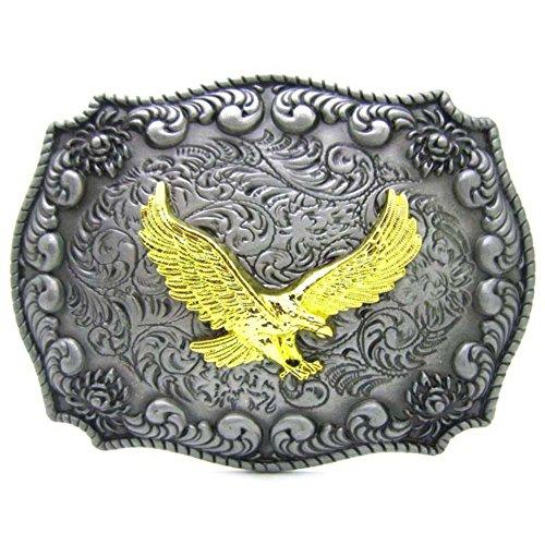 agle- Western Cowboy Engraved Soaring Eagles buckle for belts (Large Eagle Belt Buckle)