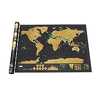 World Scratch Map Deluxe / Mapa Mundial de Rascar Edición de Lujo / Versión Grande / Raspa y Descubre (Dorado)
