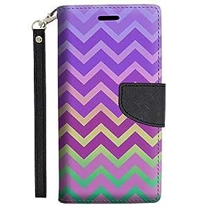 Samsung Galaxy Note 5 Wallet Case - Rainbow on Chevron Pink Purple