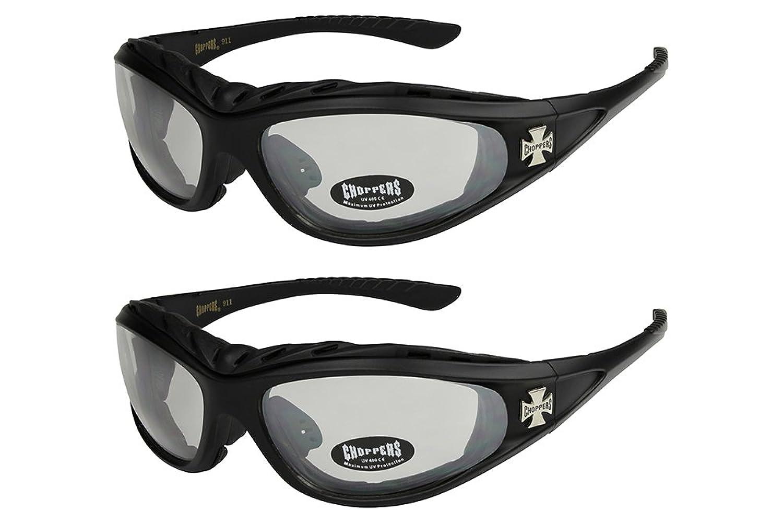2er Pack Choppers 911 Sonnenbrillen Motorradbrille Sportbrille Radbrille - 1x Modell 02 (schwarz / annährend transparent) und 1x Modell 03 (schwarz / gelb getönt) - Modell 02 + 03 - nHF8K