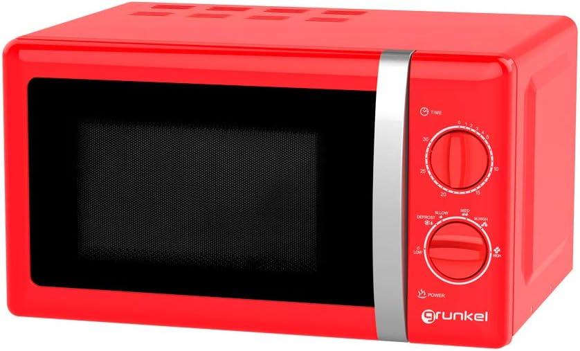 Grunkel - Microondas de diseño vintage rojo de 20 litros de capacidad y 700W. 6 niveles de potencia, función descongelación y temporizador hasta 30 minutos. Fácil apertura con tirador. Modelo MW-20RF
