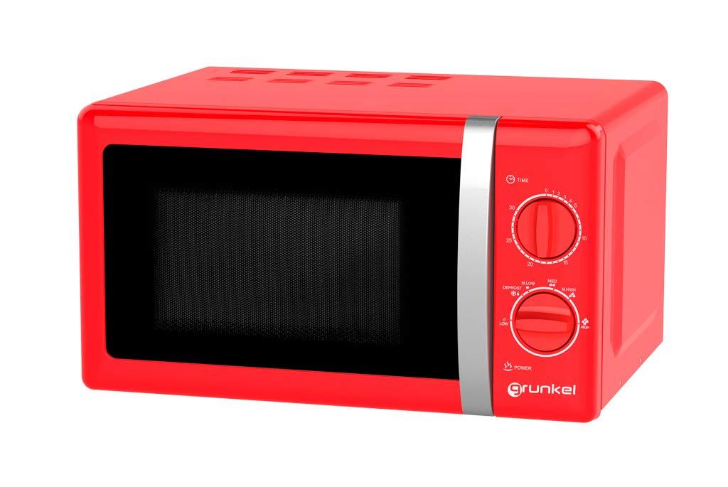 Microondas estilo Retro, capacidad 20 Litros, 700 W, 800 W, temporizador, varios niveles de potencia, color Rojo, Microondas 2 en 1, con Función Grill, Incl. Rejilla de Grill y Plato Giratorio (Ø 24,5cm), MW 7893, Rojo 4.8 de un máximo de 5 estrellas 7