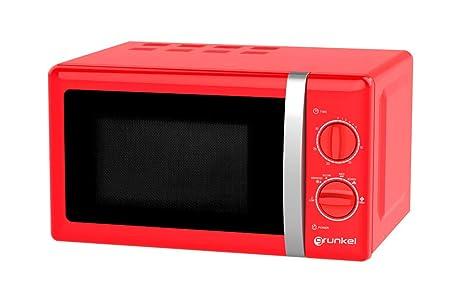 Grunkel - Microondas de diseño vintage rojo de 20 litros de capacidad y 700W. 6 niveles de potencia, función descongelación y temporizador hasta 30 ...