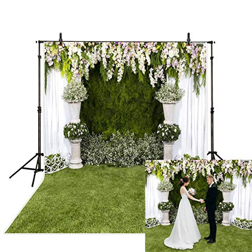 Allenjoy 5x7ft White Flower Wedding Ceremony Backdrop Curtain Banner Green Grass Lawn Arch Background for Newlyweds Photo Photography Bridal Shower Engagement Banquet Anniversary Shoots Photo Booth
