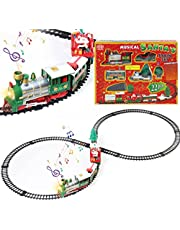 Christmas Train Set Electric Light Music Christmas Train Toy Children Small Train Track Toy Classic Christmas Train Set with Lights and Music Battery-Powered Model Train for Christmas Birthday Gift