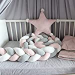 Baby-Crib-Bumper-Knotted-Braided-Plush-Nursery-Cradle-Decor-Newborn-Gift-Pillow-Cushion-Junior-Bed-Sleep-Bumper-WhitePinkGray-156-inch