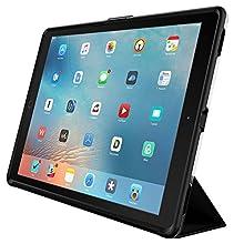 OtterBox Symmetry Hybrid - Funda con tapa para Apple iPad Pro 12.9 pulgados 1ra generación, color negro, trasera transparente