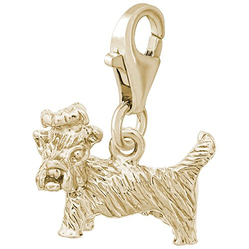Gold Plated Yorkshire Dog Charm With Lobster Claw Clasp, Charms for Bracelets and - Dog Charm Yorkshire