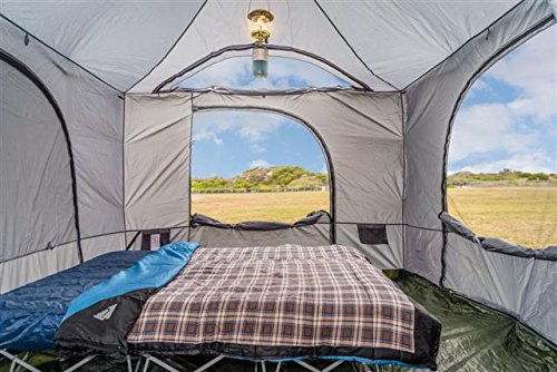 Standing Room 144 Family Cabin Camping Tent (XXL 12×12) With 8.5 feet of Head Room, 4 Big Screen Doors, All Season Weather Proof Fabric, Fast & Easy Set Up Cabin Tent, Family Tent, Large Tent