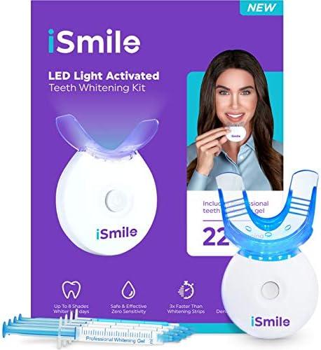 iSmile Teeth Whitening Kit - LED Light, 35% Carbamide Peroxide, (3) 3ml Gel Syringes, (1) Remineralization Gel, and Tray.