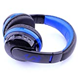 Wireless Bluetooth Headset, Cywulin Surround Stereo Headband Noise Cancelling Soft Headphone for Smart Phones Laptops Computers MAC PC (Blue)
