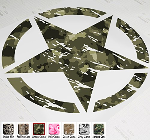 "20"" Jeep Wrangler Freedom Edition Star Hood Decal Sticker Premium Patterns (Green Camo)"