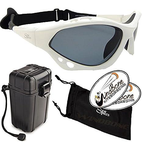 93121999cb2 SeaSpecs Classic Lightning Specs White Extreme Water Sports Floating  Sunglasses w Hard Case Bundle (4