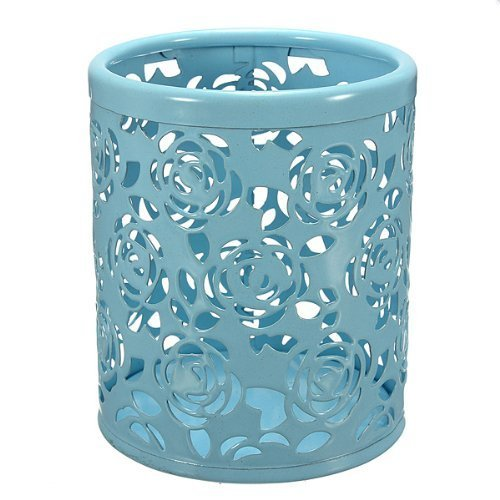NeDonald Water & Wood Hollow Rose Flower Pattern Cylinder Pen Pencil Pot Holder Container Organizer