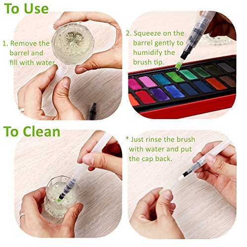 Ohuhu water coloring brush pens set of 6 brush tips for for Water colouring techniques