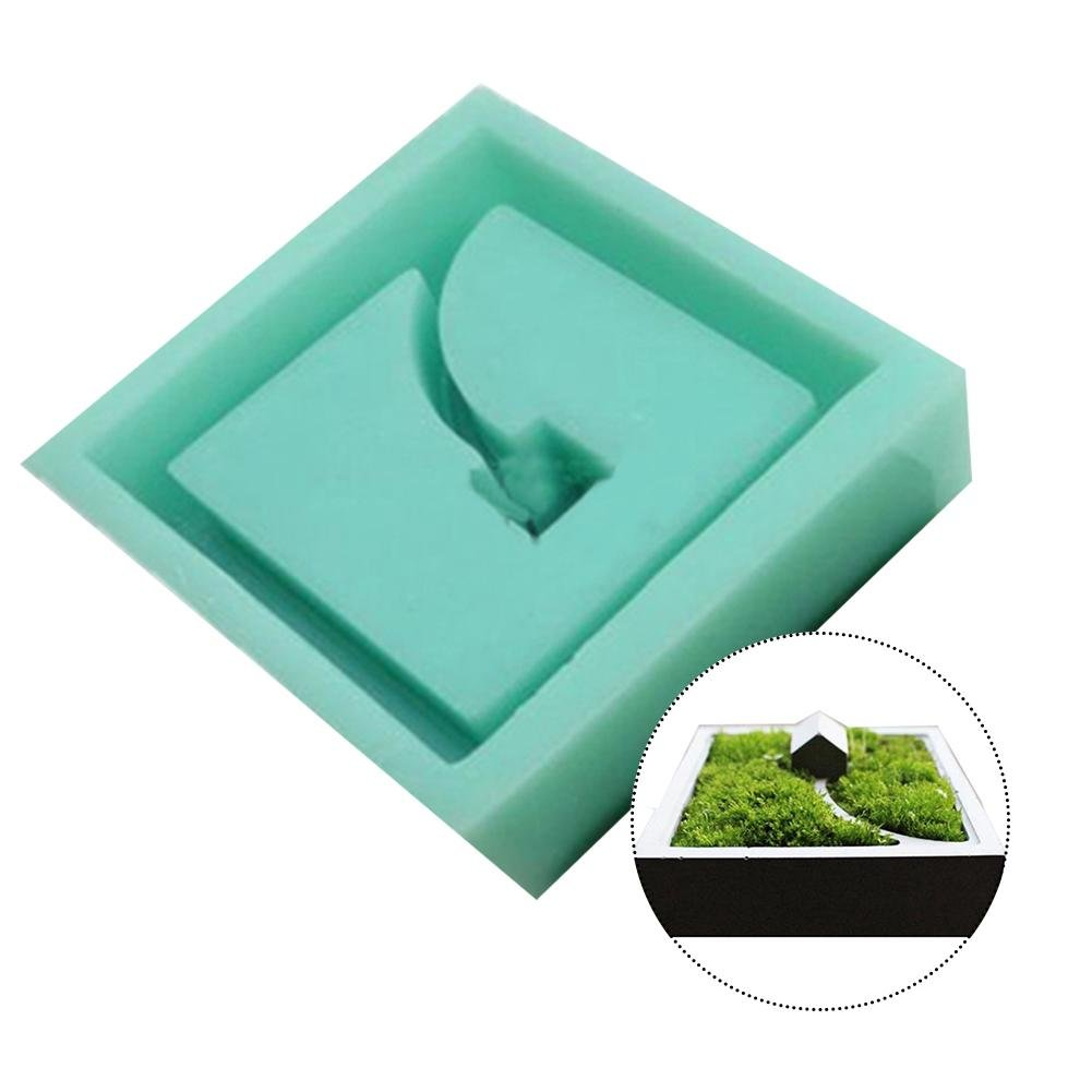 Foerteng Silicone Molds Flower Planter Pot Mould Concrete Moss Mini Small House Muti-Meat Desktop Decoration