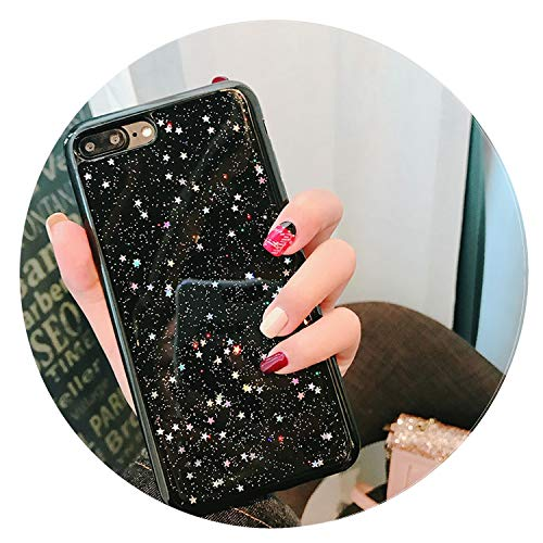 Luxury Glitter Bling Soft Case for iPhone X XR XS MAX Star Clear Cover Shining Sequin Phone Cases for iPhone 6 6S 7 8 Plus Coque,Star Black,i7 (4.7inch) (Tablet Outter 7 Box Case Inch)
