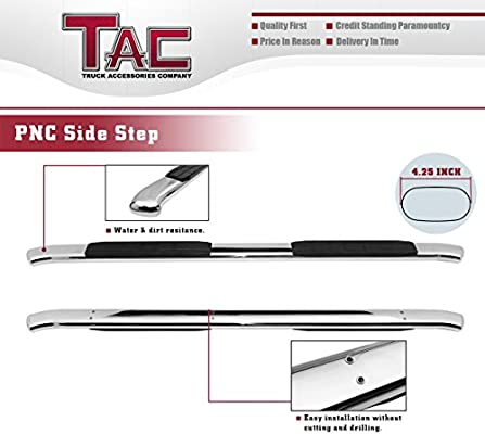 2010-2019 Ram 2500//3500//4500//5500 Crew Cab Pickup Truck PNC Oval Bend T304 Stainless Steel Side Nerf Bars Step Rails Running Boards Accessories 2Pcs TAC 4.25 Side Steps Fit 2009-2018 Dodge Ram 1500