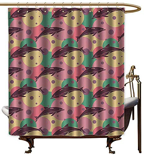 (StarsART Shower Curtains White Gold Aquatic,Cute Dolphins Underwater Bubbles Colorful Ocean Sea Illustration,Jade Green Dried Rose Pink,W36 x L72,Shower Curtain for)