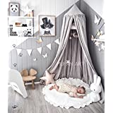 Princess Bed Canopy Mosquito Net Block Out Light Dome for Girls Kids Baby Crib, Castle Play Tent Hanging Over Decoration Nook Reading Furniture, Cotton Canvas, Height-95 inch (Pink) (Prince Grey)