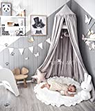 Princess Bed Canopy Mosquito Net for Kids Baby , Round Dome Kids Indoor Outdoor Castle Play Tent Hanging House Decoration Reading nook Cotton Canvas Height 240cm / 94.9 inch (Grey) (Grey)
