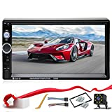 Double Din Car Stereo in-Dash Compatible with Bluetooth Touch Screen 7 inch with Rear-View Camera,Video MP5/4/3 Player, Radio FM, Car Stereo Receiver, Mirror Link, Caller ID