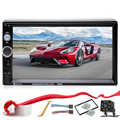 Double Din Car Stereo in-Dash Compatible with Bluetooth Touch Screen 7 inch with Rear-View Camera,Video MP5/4/3 Player, Radio FM, Car Stereo Receiver, Mirror Link, Caller -