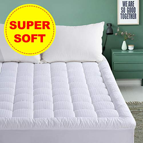 "EMONIA Queen Mattress Pad - Pillow Top Fitted Mattress Pad Cover (Deep Pocket 8""-21""), 300TC Down Alternative Quilted Mattress Topper"