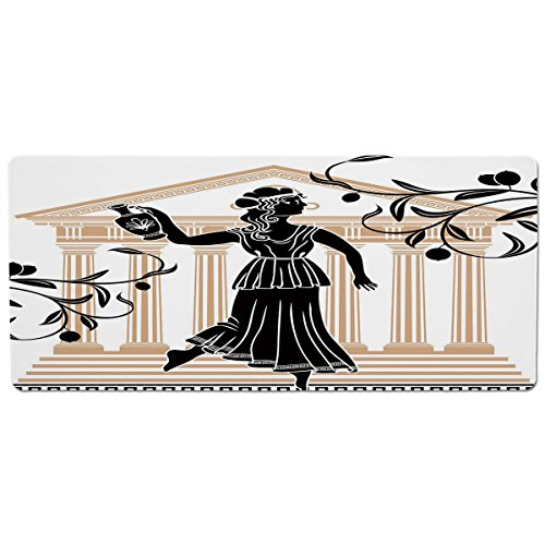 iPrint Pet Mat for Food and Water,Toga Party,Greek Woman with Amphora Temple and Olive Branches Culture Folk Pattern Decorative,Sand Brown Black,Rectangle Non-Slip Rubber Mat for Dogs and Cats