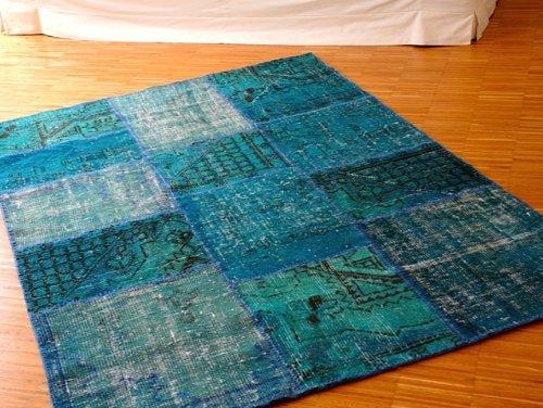Orientteppich türkis  Amazon.de: Teppich Patchwork Vintage türkis blau / 200 x 300 cm