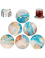EASYLEE Coasters Absorbent Ceramic Stone Drinks Coasters Set with Cork Base Protect Furniture, Glass Cup Holder Coffee Mug Place Mats Coasters, Suitable for Kinds of Mugs and Cups (6 Packs & Holder)