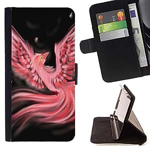 Phoenix Pink Bird Dreams Night - Modelo colorido cuero de la carpeta del tirón del caso cubierta piel Holster Funda protecció Para Apple iPhone 5 / iPhone 5S