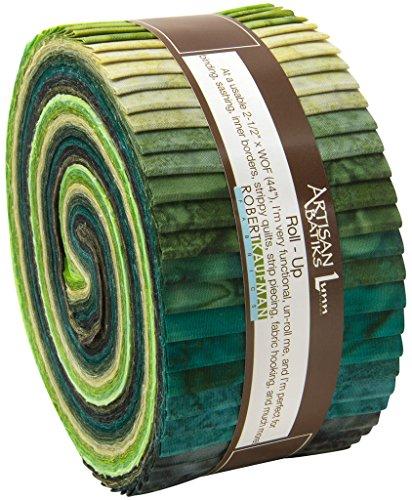 罗伯特·考夫曼工匠蜡染Prisma的染料雨林绿色果冻易拉宝,40 2.5x44英寸的棉织物带