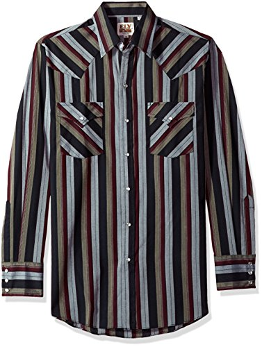 - Ely & Walker Men's Long Sleeve Stripe Western Shirt, Burgundy, Large